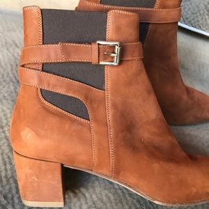 Gianvito Rossi caramel suede ankle boot buckle toe